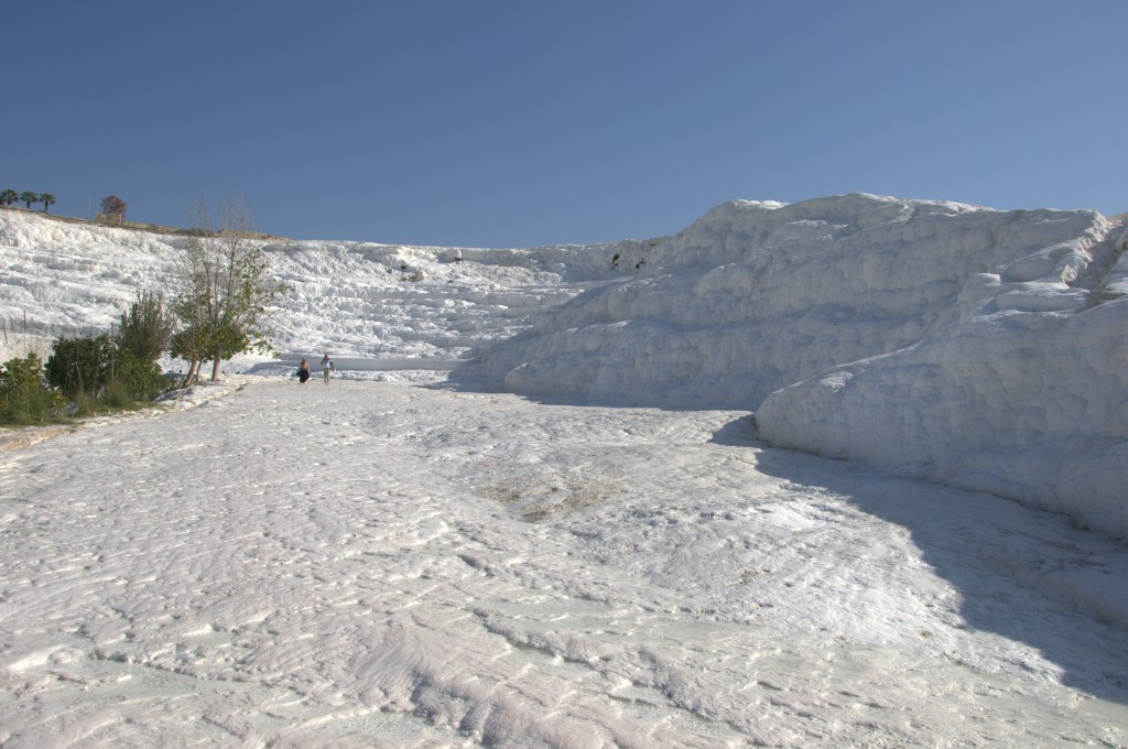 Pamukkale Lower entrance walking only and less crowded then where the buses go