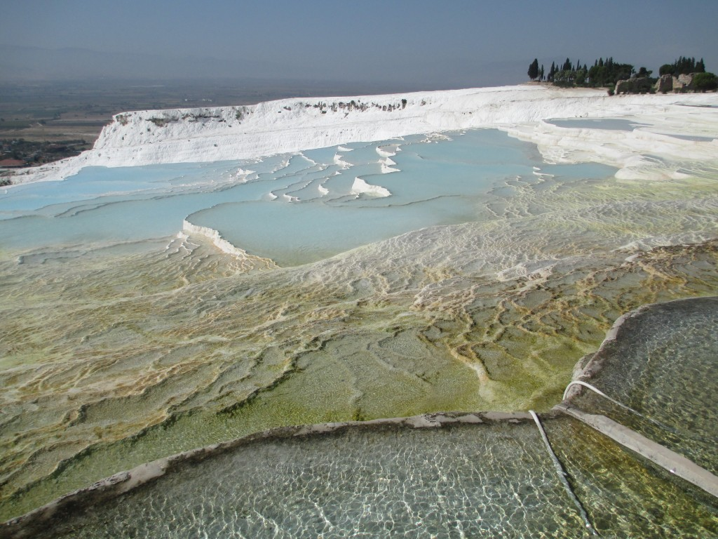 shallow pools along the walking path of pamukkale