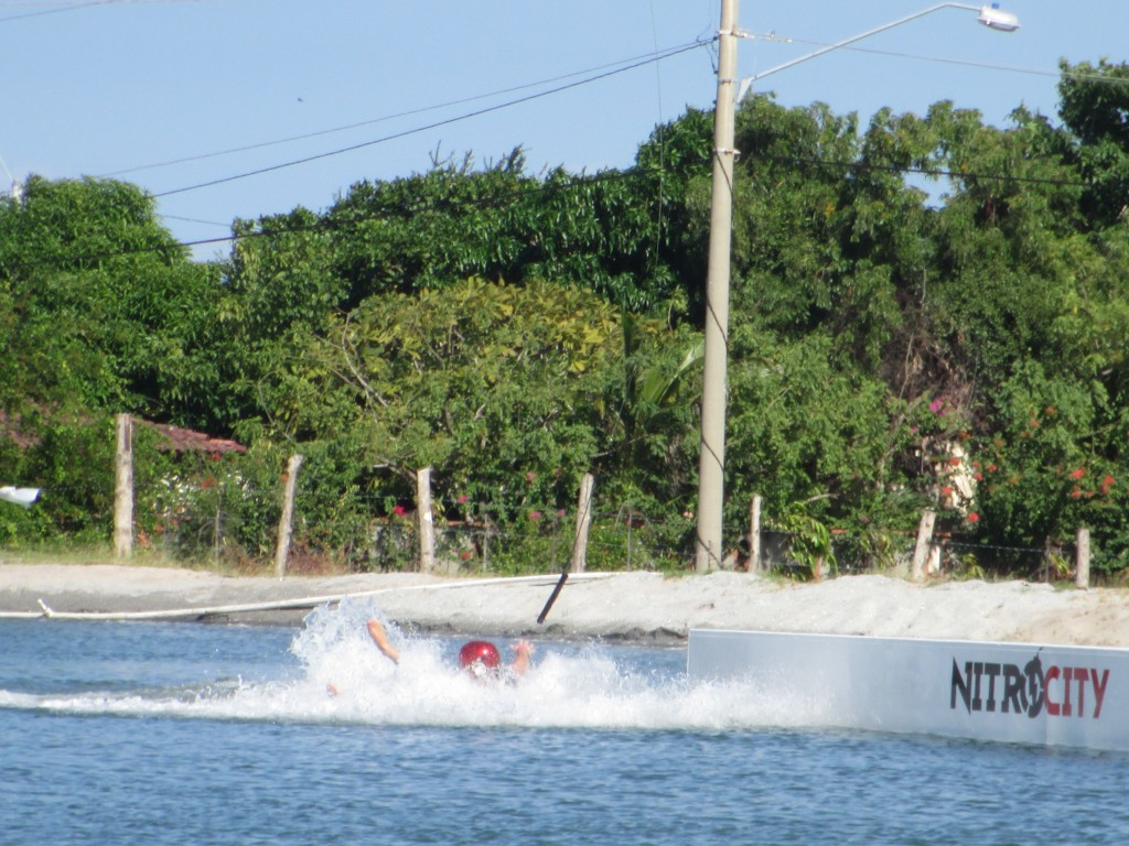 Nitro City cable park, wipe out, bailing, wakeboard, wake skate
