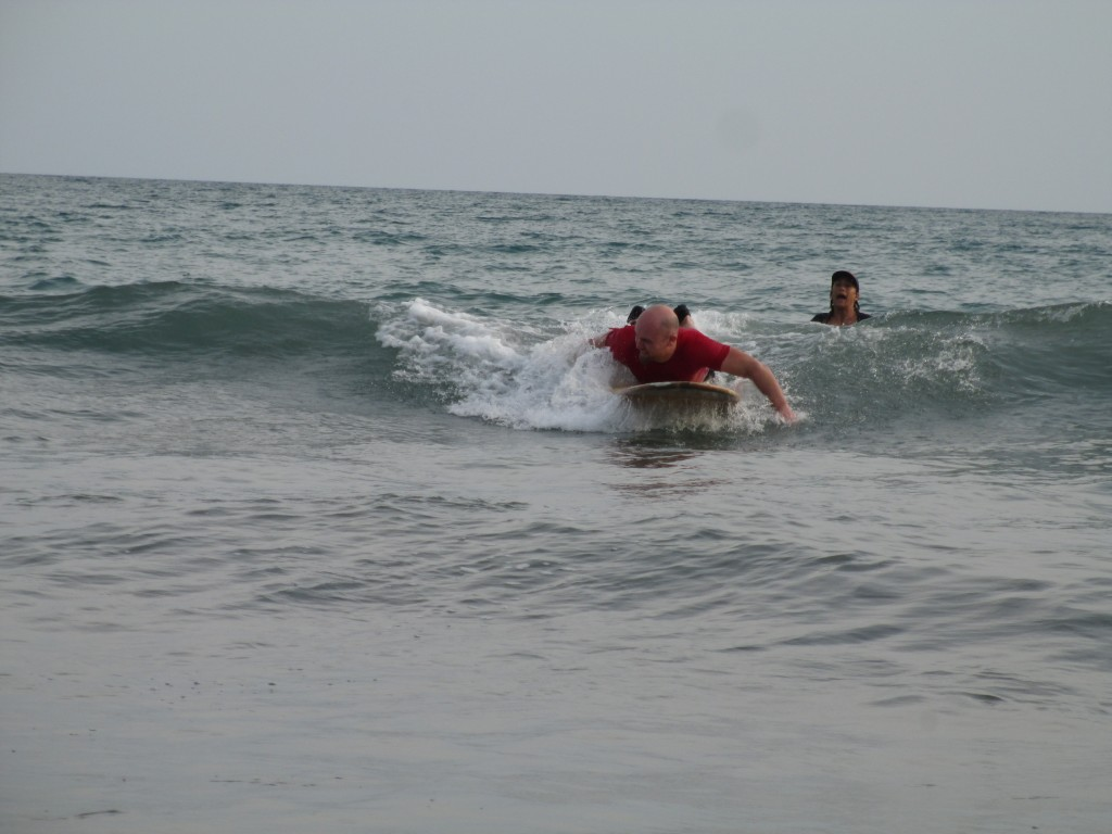 paddling during my first surf lesson at El Palmar beach, Panama