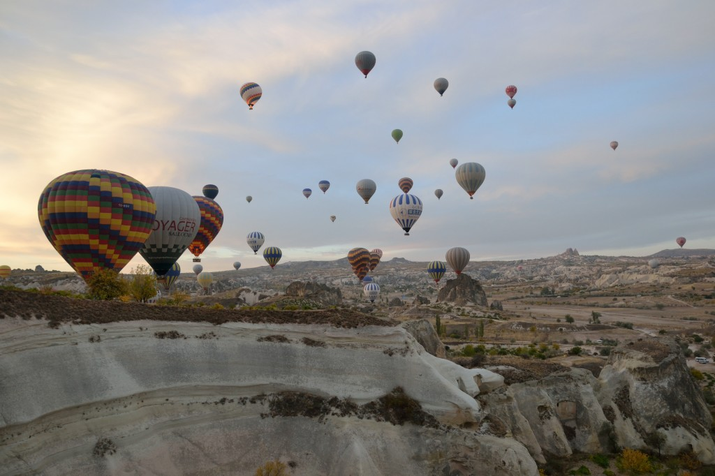 Sky full of hot air balloons in Cappadocia Turkey