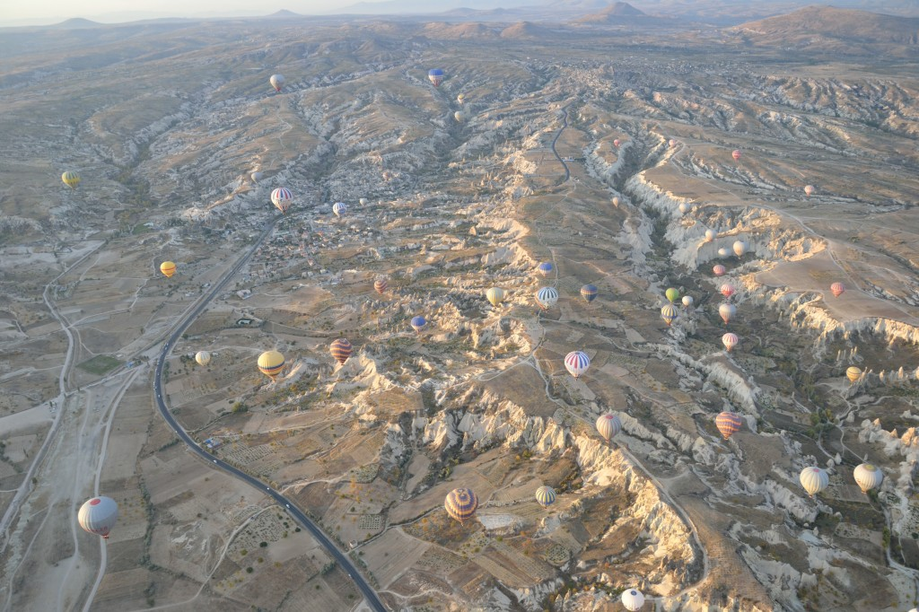 very high up in the hot air balloon ride above cappadocia