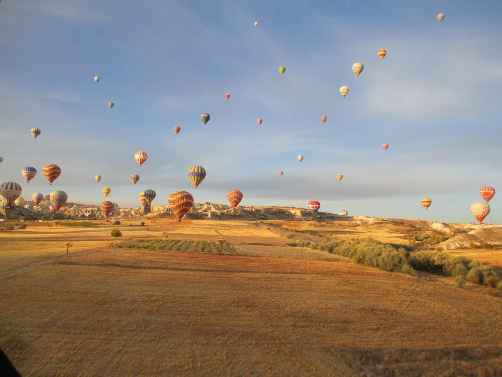 landing safely from our hot air balloon ride in Cappadocia Turkey