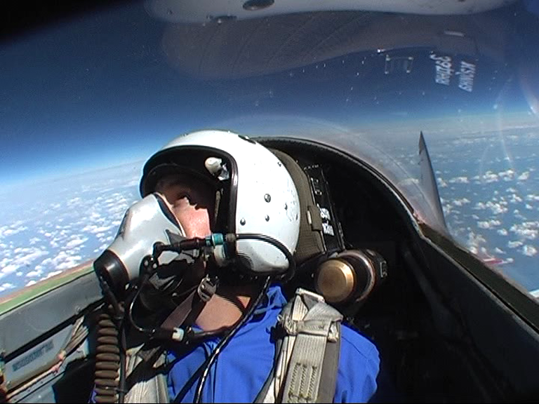 Looking up in to space from a MIG-29