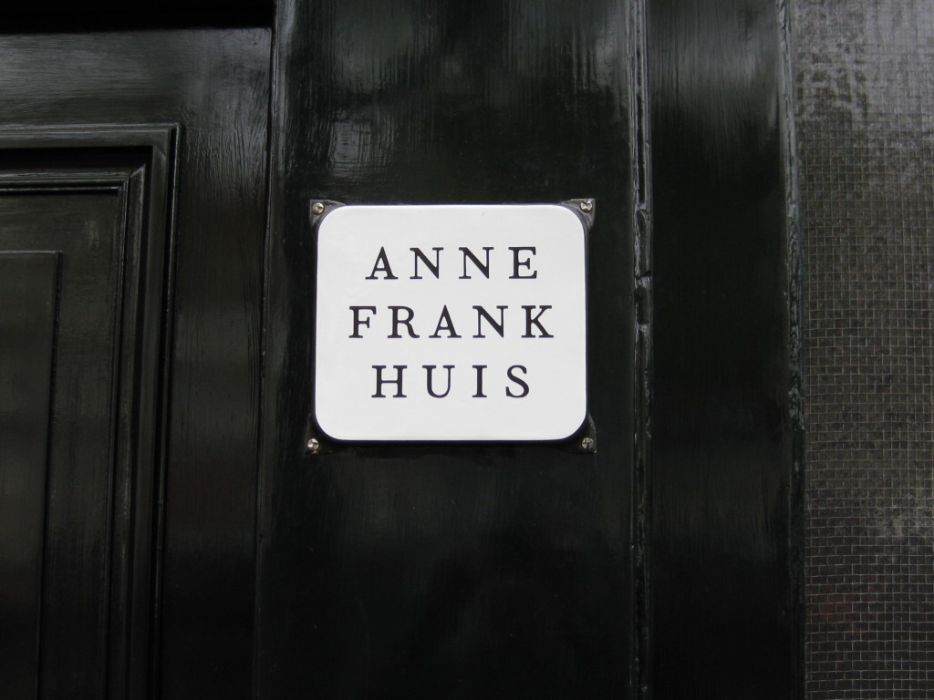 Anne Frank Huis sign in front of the Anne Frank House, Amsterdam, Netherlands