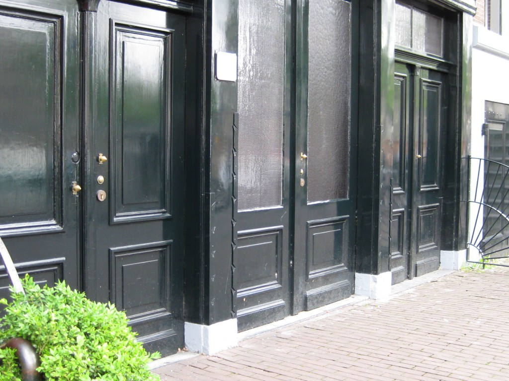 Outside doors of the Anne Frank House, Amsterdam, Holland