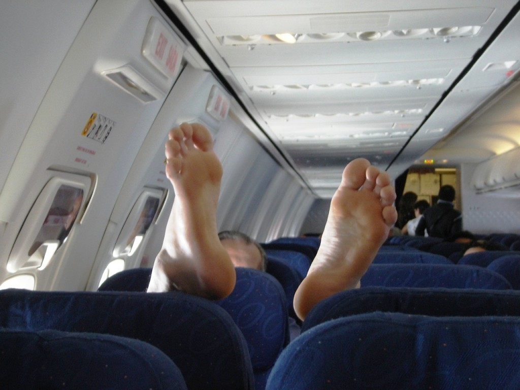 Bare feet on a flight