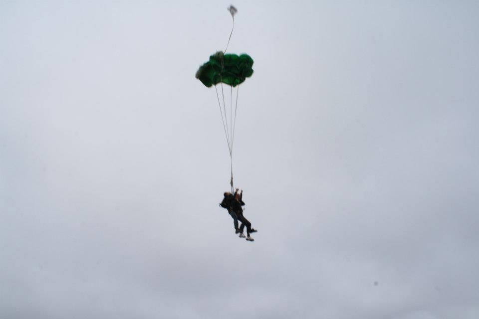 The parachute opens!! Skydiving