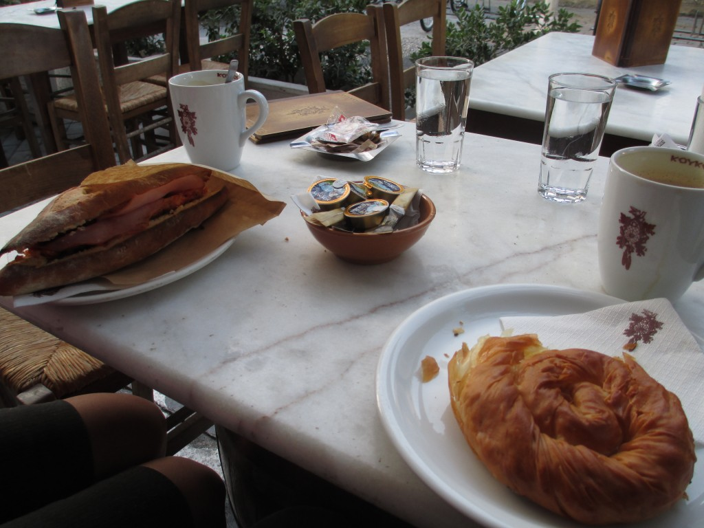 Breakfast at Koykos with lattes, in New Town Rhodes.