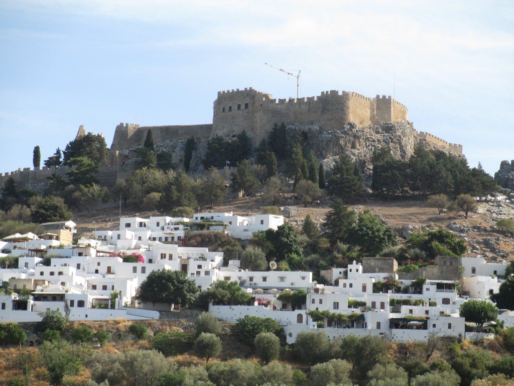 View of the Lindos Fortress & Lindos Acropolis from the Lindos Beach