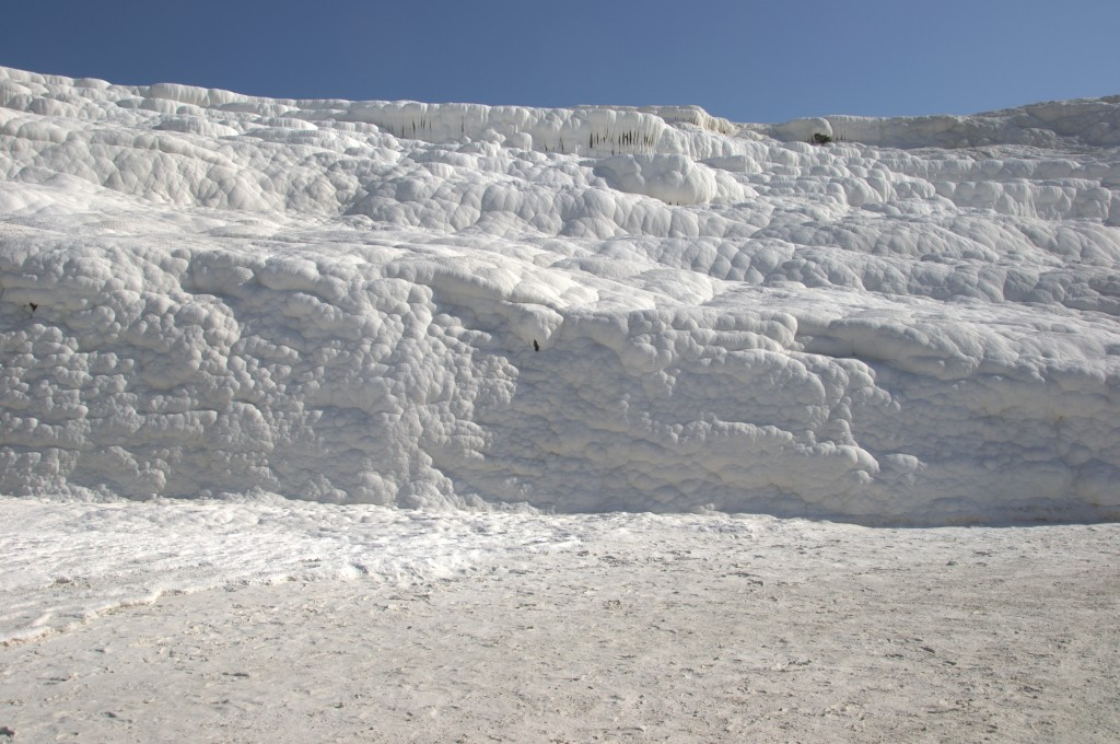 Walking up Pamukkale seeing all the formations of travertine