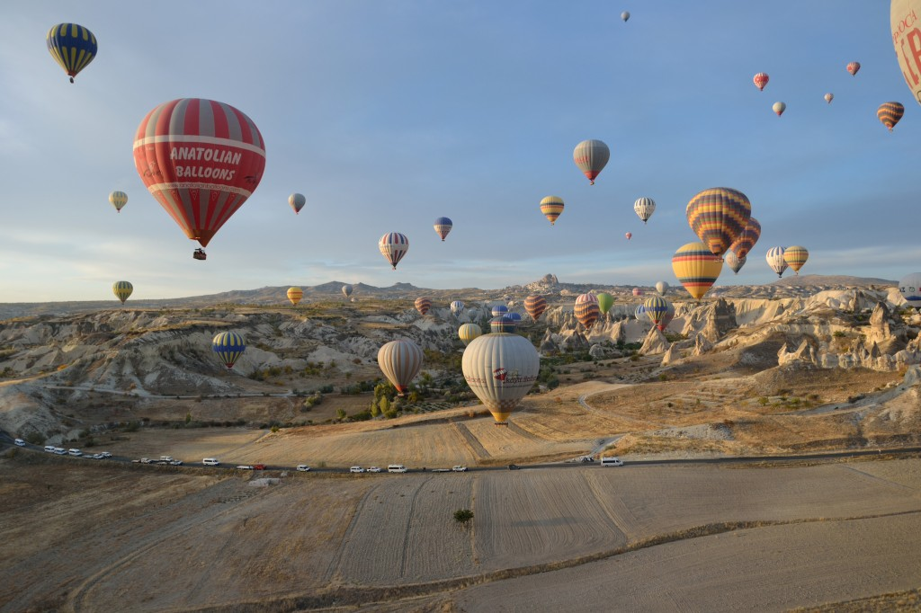 about to land in our hot air balloon in cappadocia turkey