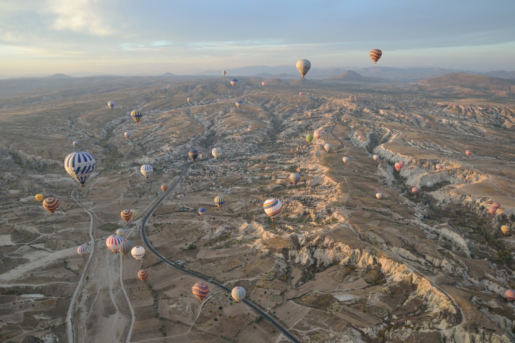 high in the sky above cappadocia turkey