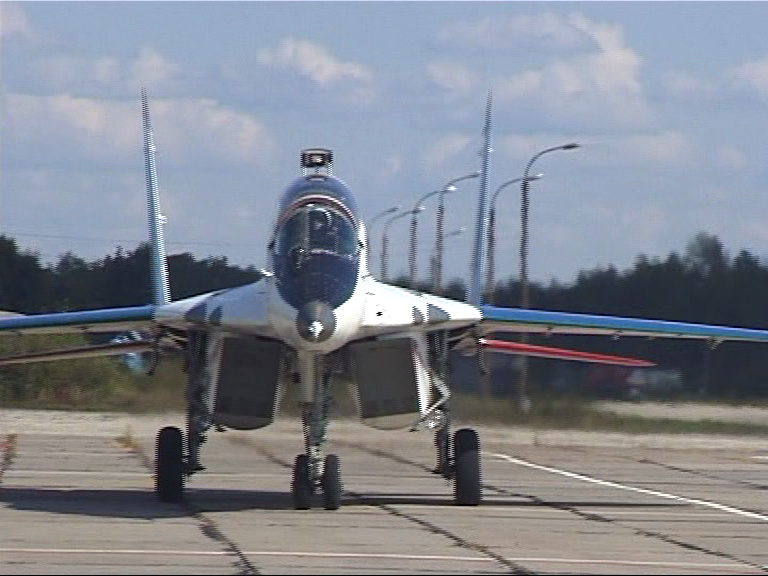 MIG-29 coming to a stop on the runway