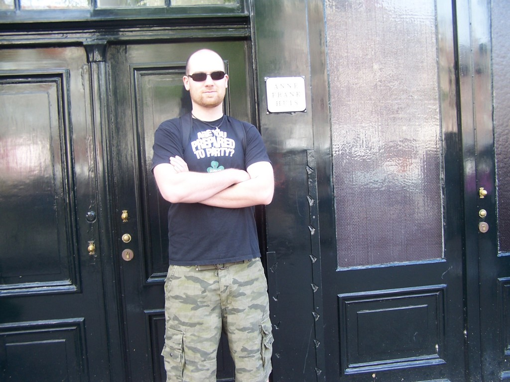 In front of the Anne Frank House in Amsterdam