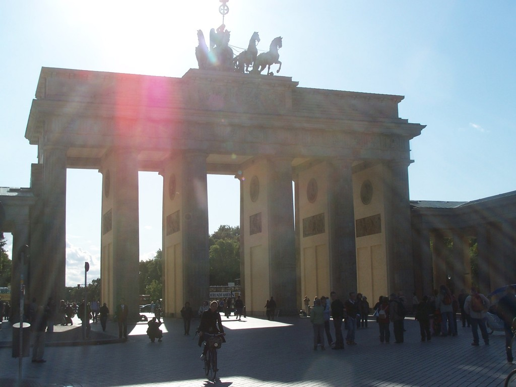 The Brandenburg gate. Sun through the quadriga