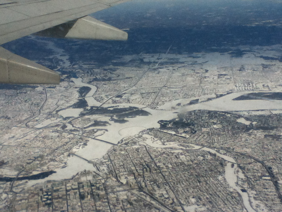 Flying in to Ottawa during the Winter. Ottawa From the sky